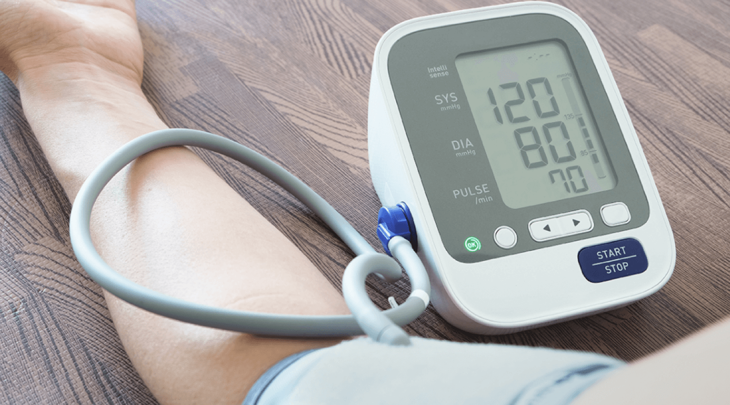 Taking blood pressure with device