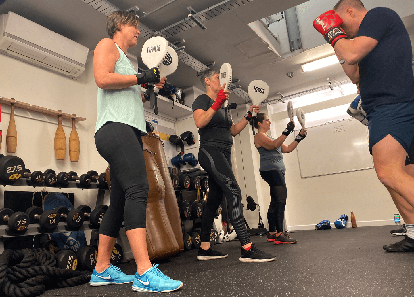 Group training with boxing pads