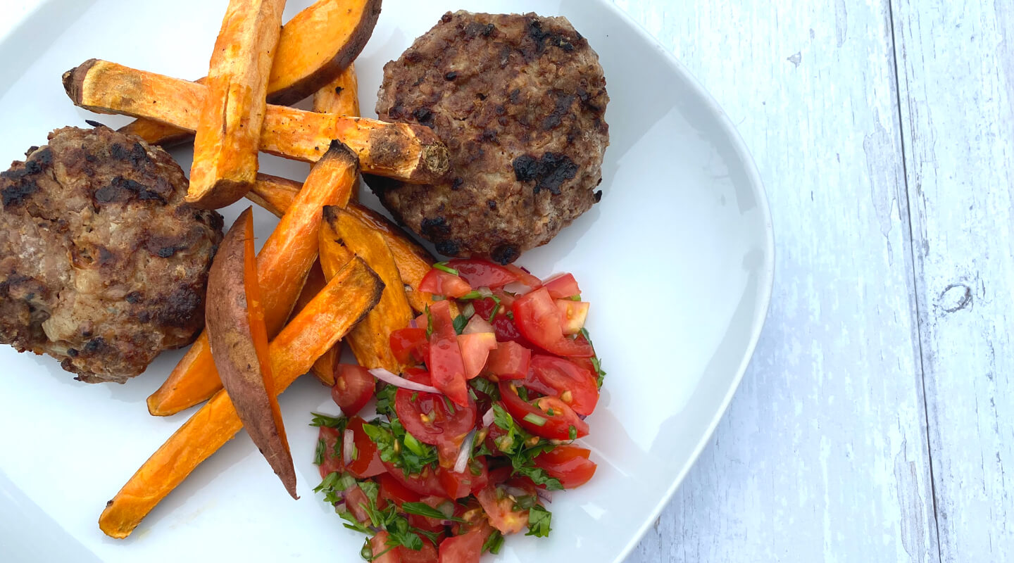 Spicy Aberdeen Angus Burger with Sweet Potato Fries & Salsa