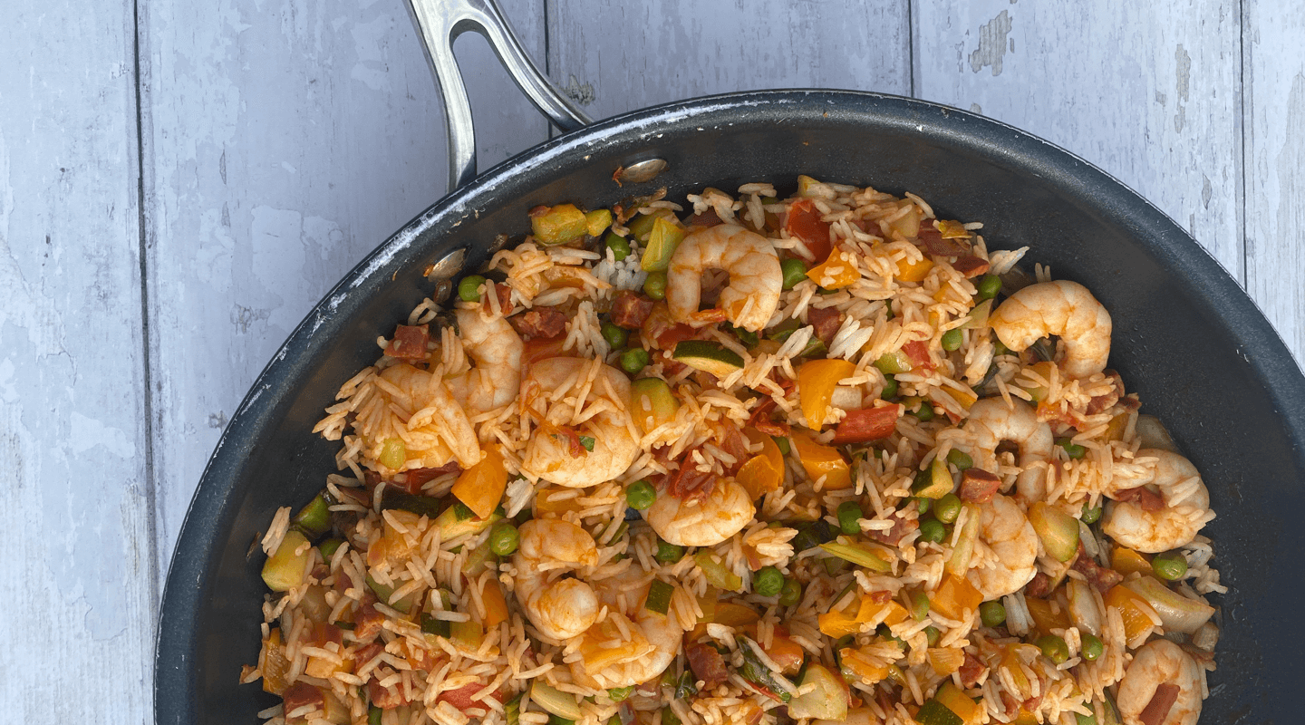 Prawn, Chorizo and Rainbow Rice