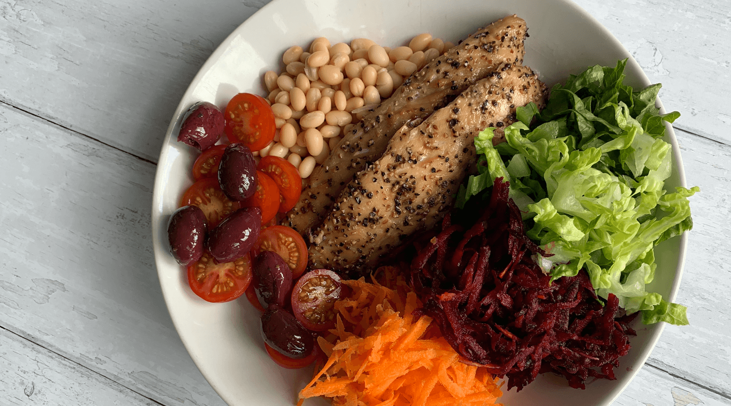 Smoked Mackerel, rainbow salad and haricot beans